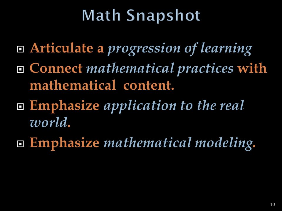 Math Snapshot Articulate a progression of learning