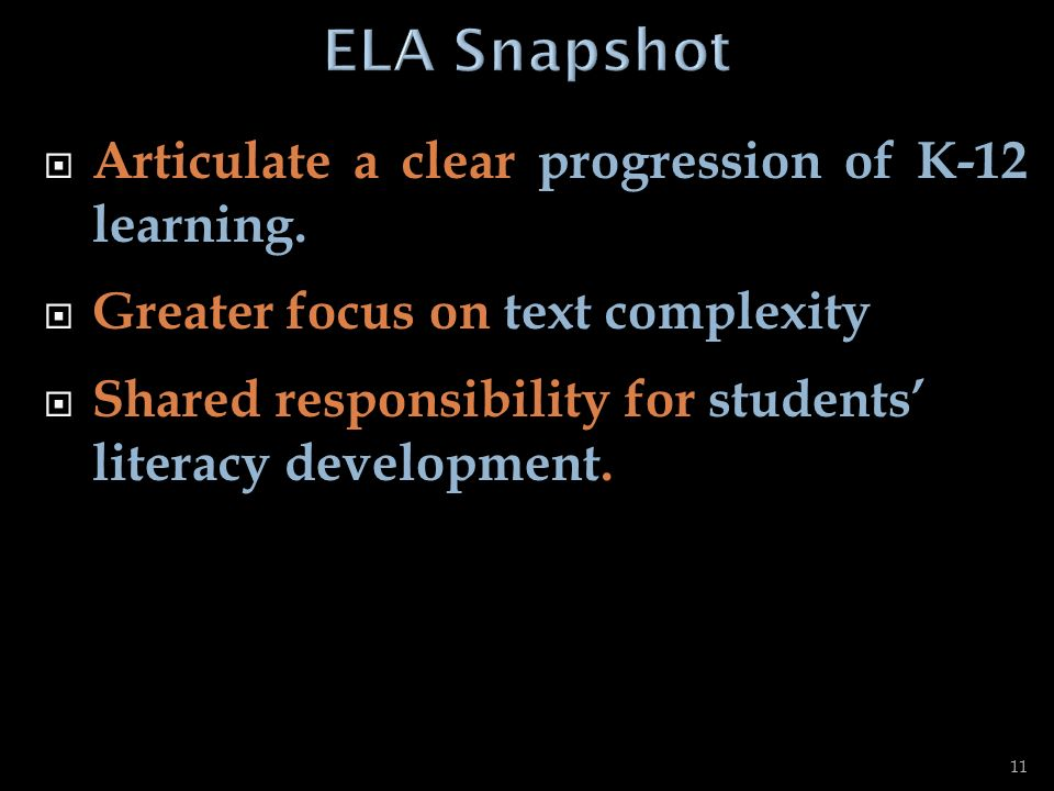 ELA Snapshot Articulate a clear progression of K-12 learning.