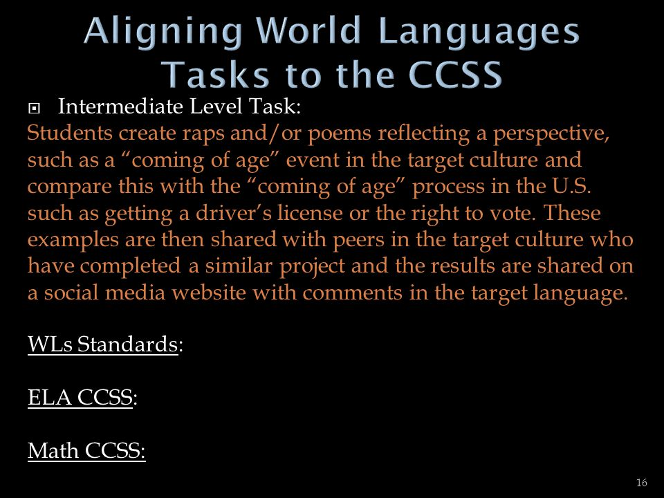 Aligning World Languages Tasks to the CCSS
