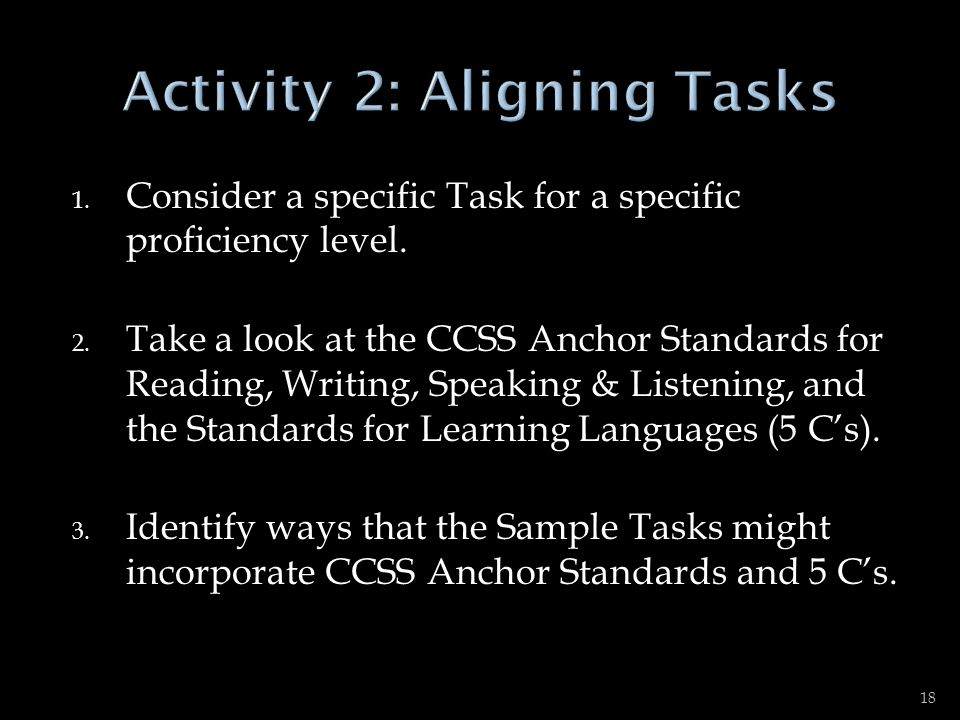 Activity 2: Aligning Tasks