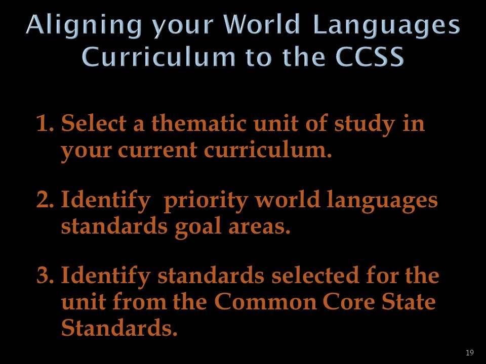 Aligning your World Languages Curriculum to the CCSS