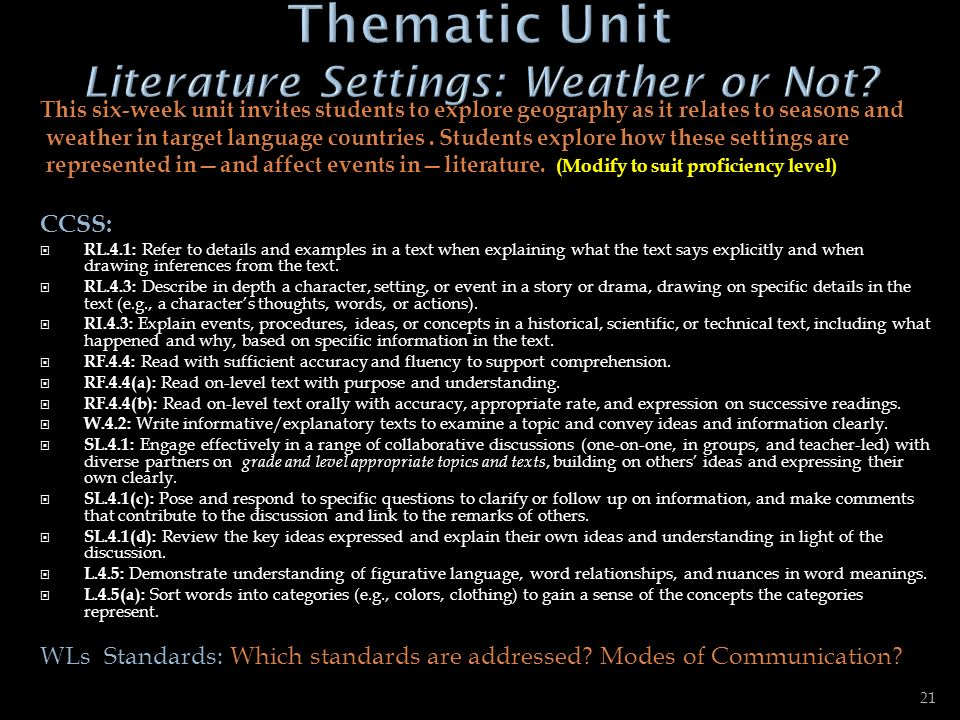 Thematic Unit Literature Settings: Weather or Not