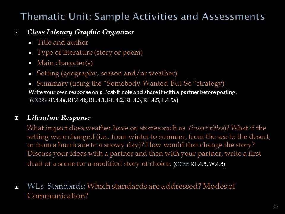 Thematic Unit: Sample Activities and Assessments