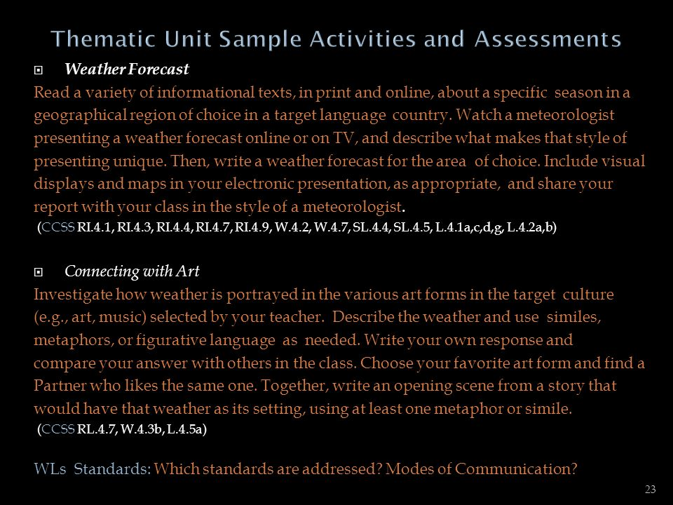 Thematic Unit Sample Activities and Assessments