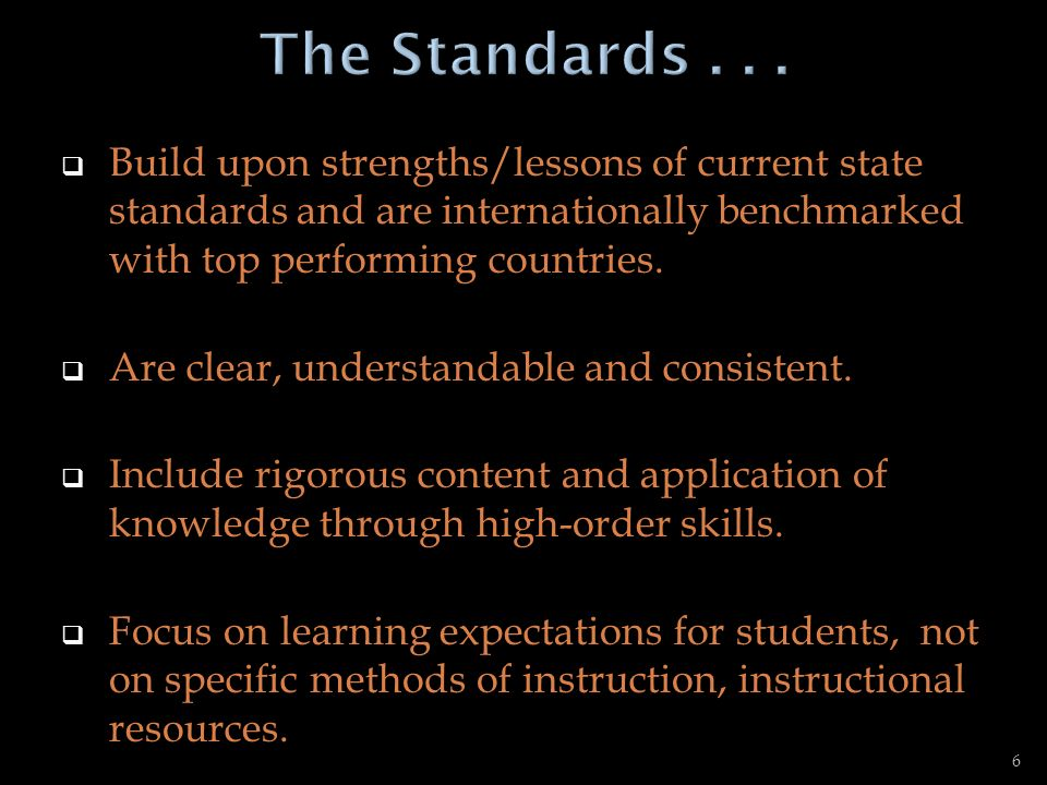 The Standards Build upon strengths/lessons of current state standards and are internationally benchmarked with top performing countries.