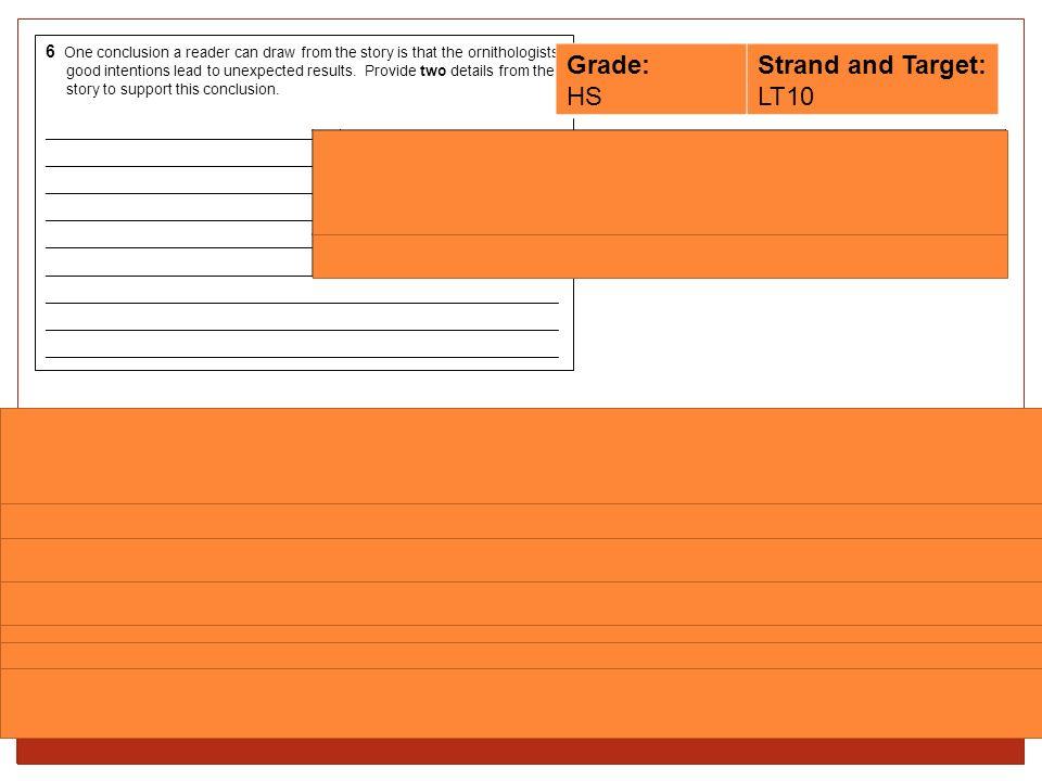 Grade: HS Strand and Target: LT10
