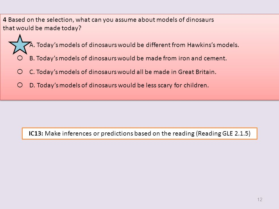 4 Based on the selection, what can you assume about models of dinosaurs