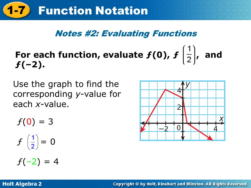 Notes #2: Evaluating Functions