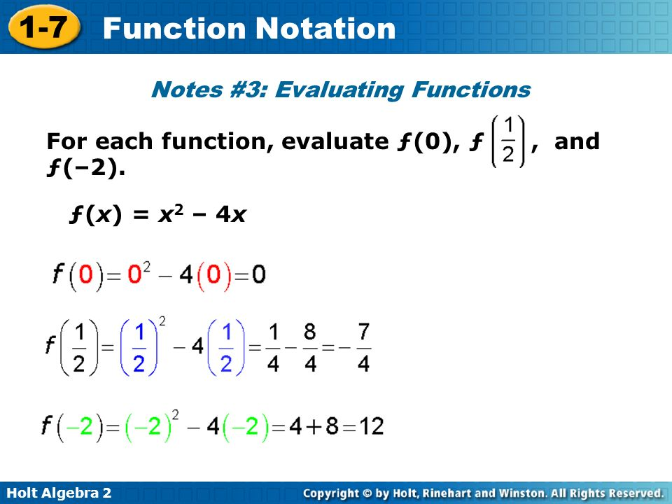 Notes #3: Evaluating Functions