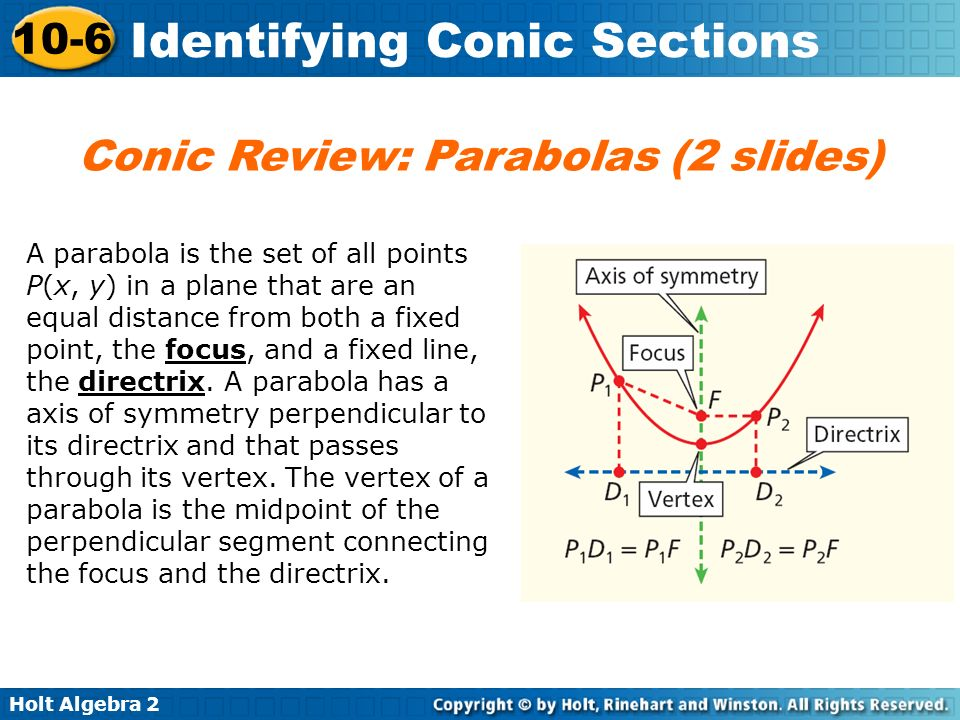Conic Review: Parabolas (2 slides)