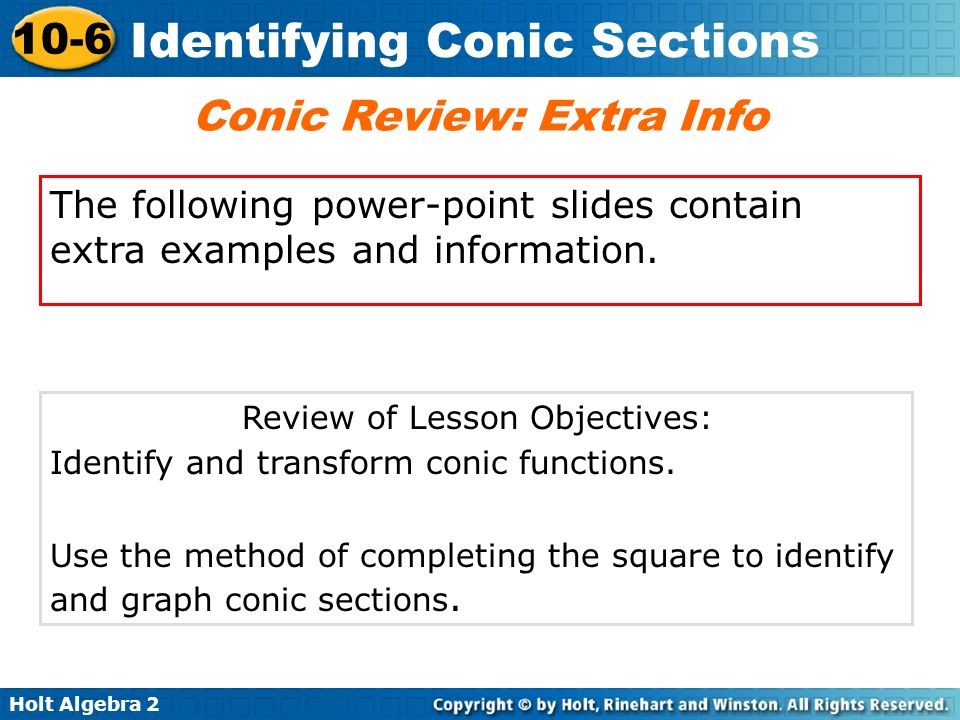 Conic Review: Extra Info