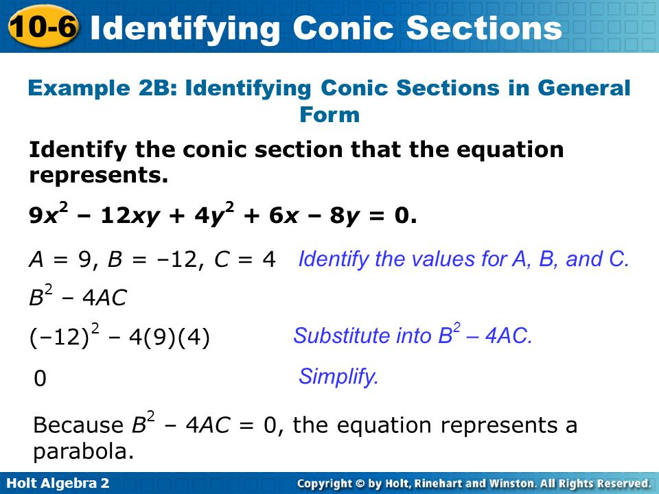 Example 2B: Identifying Conic Sections in General Form