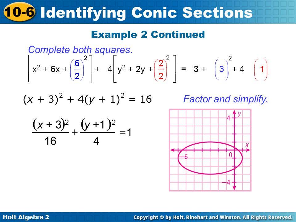 ( ) x + 3 2 y +1 2 + = 1 16 4 Example 2 Continued