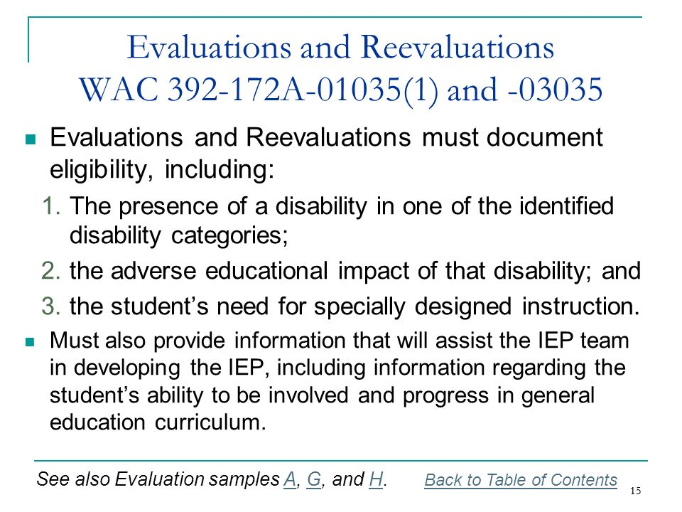 Evaluations and Reevaluations WAC 392-172A-01035(1) and -03035