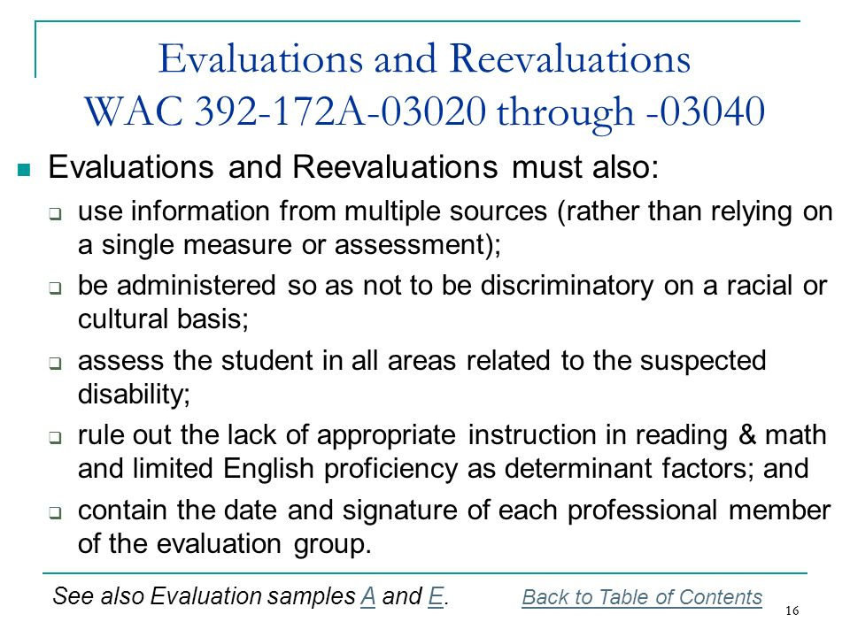 Evaluations and Reevaluations WAC 392-172A-03020 through -03040