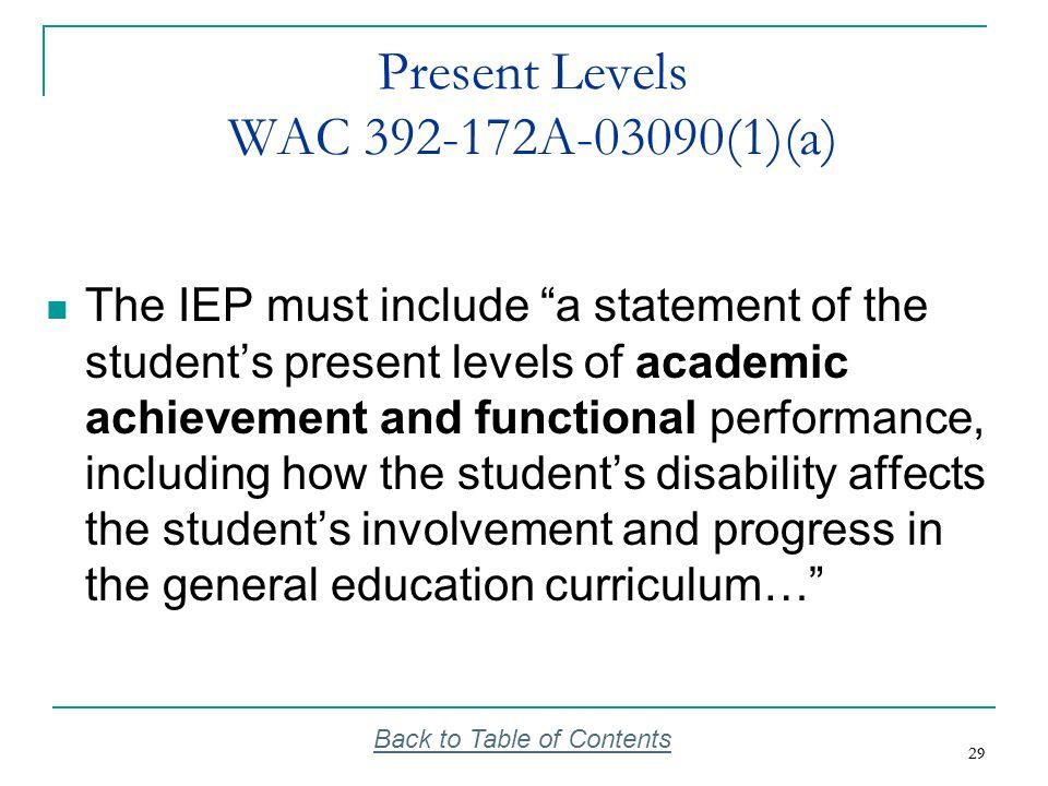 Present Levels WAC 392-172A-03090(1)(a)