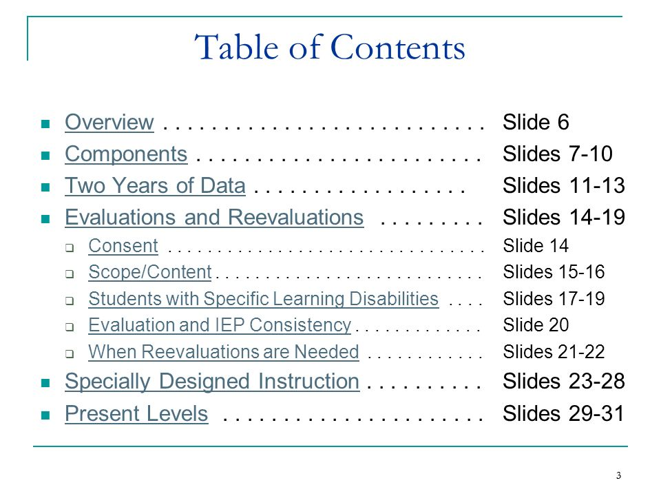 Table of Contents Overview . . . . . . . . . . . . . . . . . . . . . . . . . . . Slide 6.