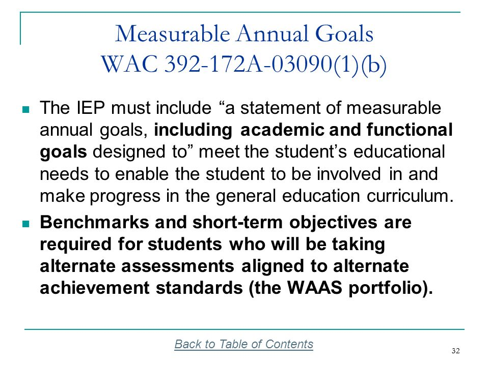 Measurable Annual Goals WAC 392-172A-03090(1)(b)