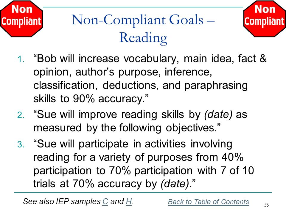 Non-Compliant Goals – Reading