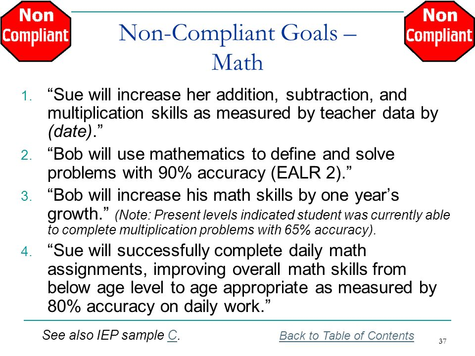 Non-Compliant Goals – Math