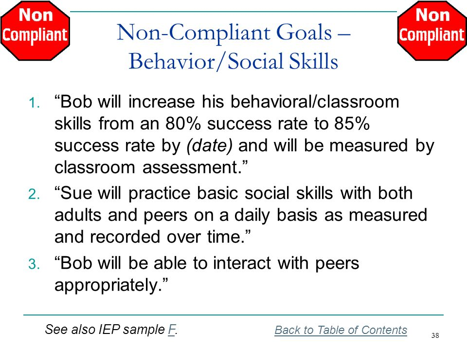 Non-Compliant Goals – Behavior/Social Skills
