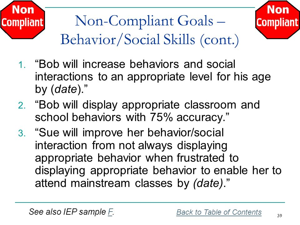 Non-Compliant Goals – Behavior/Social Skills (cont.)