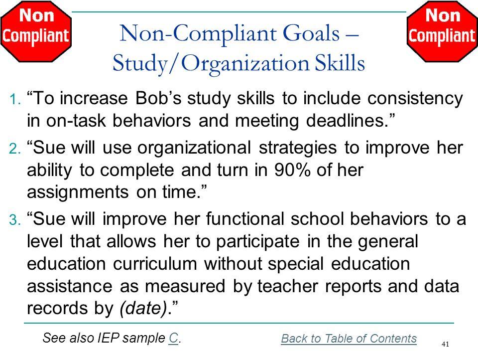 Non-Compliant Goals – Study/Organization Skills