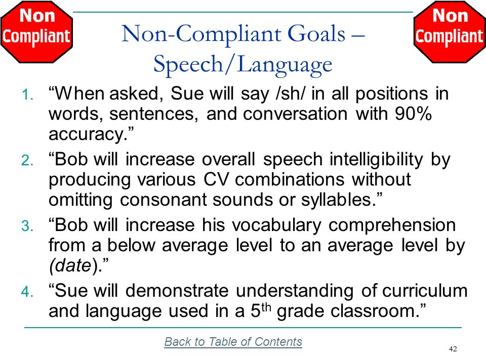 Non-Compliant Goals – Speech/Language