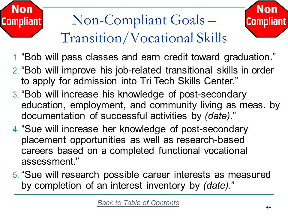 Non-Compliant Goals – Transition/Vocational Skills
