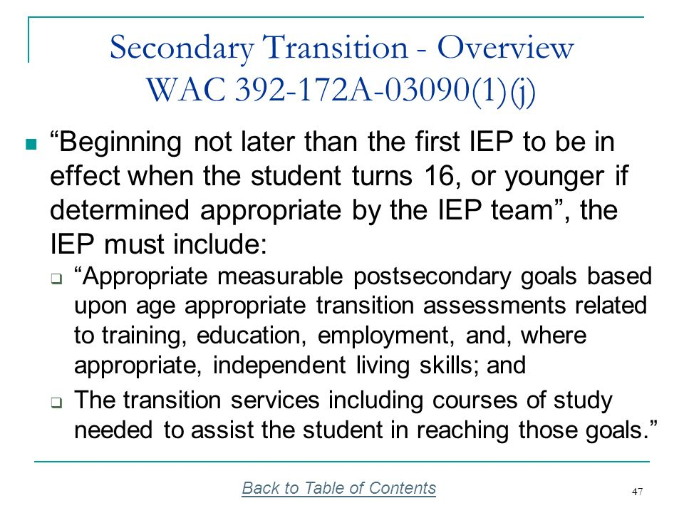 Secondary Transition - Overview WAC 392-172A-03090(1)(j)