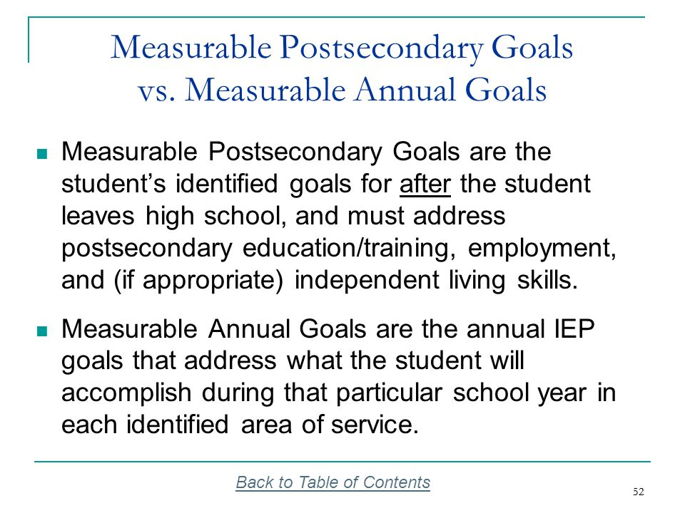 Measurable Postsecondary Goals vs. Measurable Annual Goals