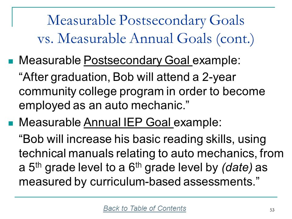 Measurable Postsecondary Goals vs. Measurable Annual Goals (cont.)