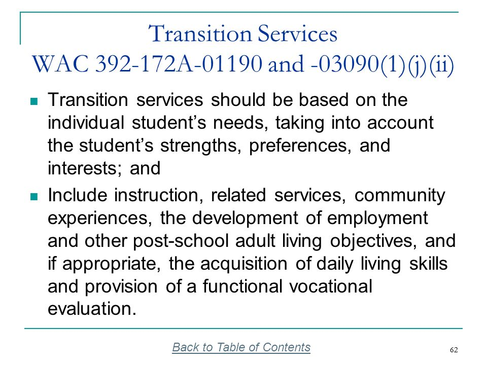 Transition Services WAC 392-172A-01190 and -03090(1)(j)(ii)
