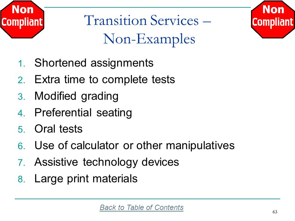 Transition Services – Non-Examples