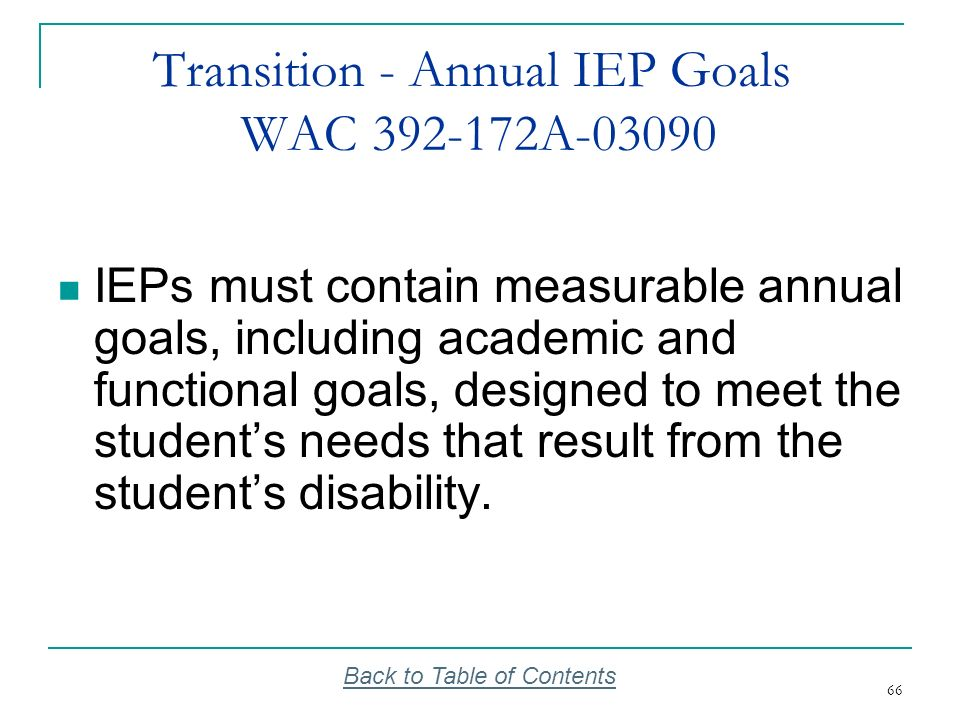 Transition - Annual IEP Goals WAC 392-172A-03090