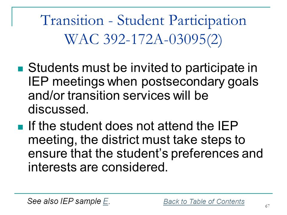 Transition - Student Participation WAC 392-172A-03095(2)