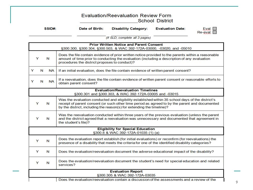 A screenshot of the Evaluation/Reevaluation Review Form – a tool that can assist district staff in reviewing an evaluation/reevaluation for compliance.