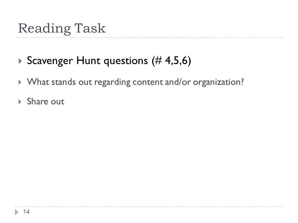 Reading Task Scavenger Hunt questions (# 4,5,6)