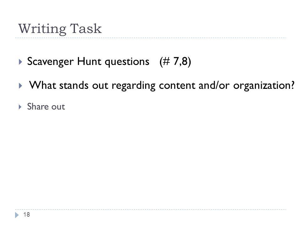 Writing Task Scavenger Hunt questions (# 7,8)