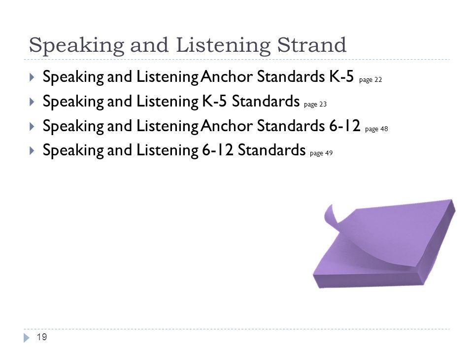 Speaking and Listening Strand