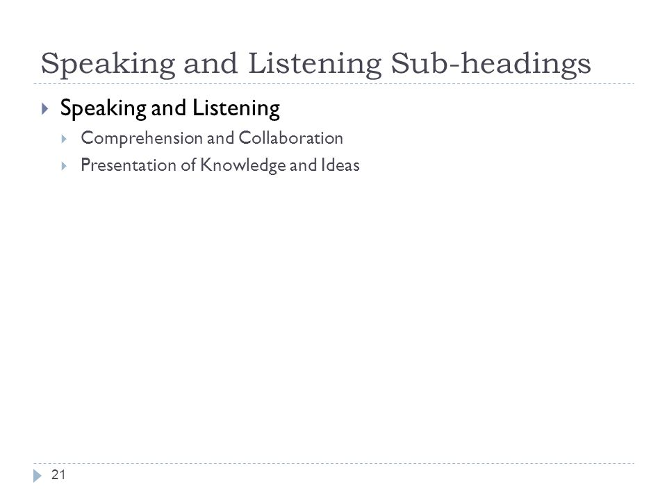 Speaking and Listening Sub-headings
