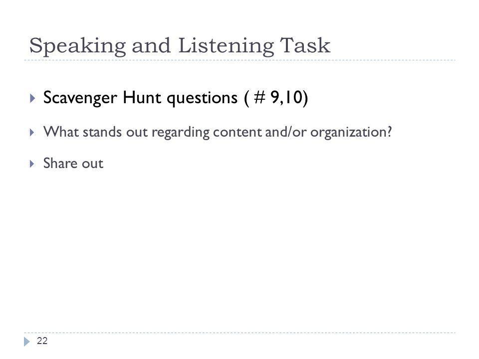 Speaking and Listening Task