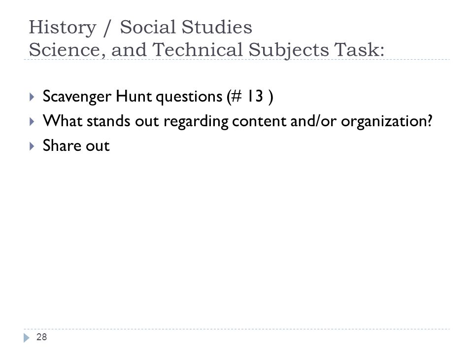 History / Social Studies Science, and Technical Subjects Task: