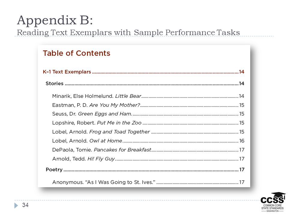 Appendix B: Reading Text Exemplars with Sample Performance Tasks