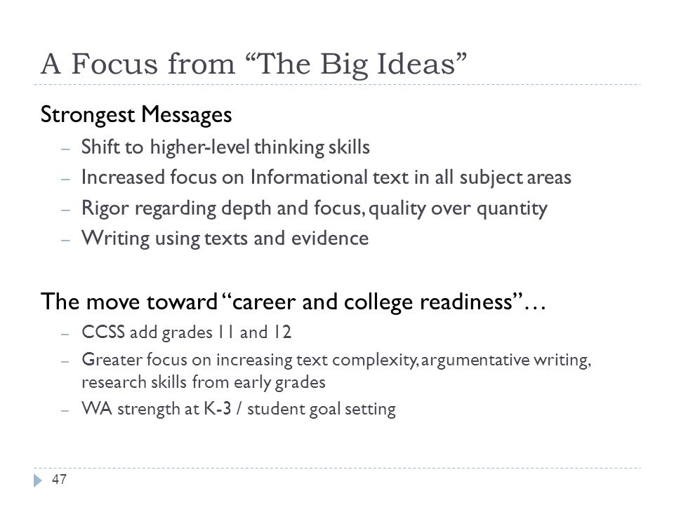 A Focus from The Big Ideas