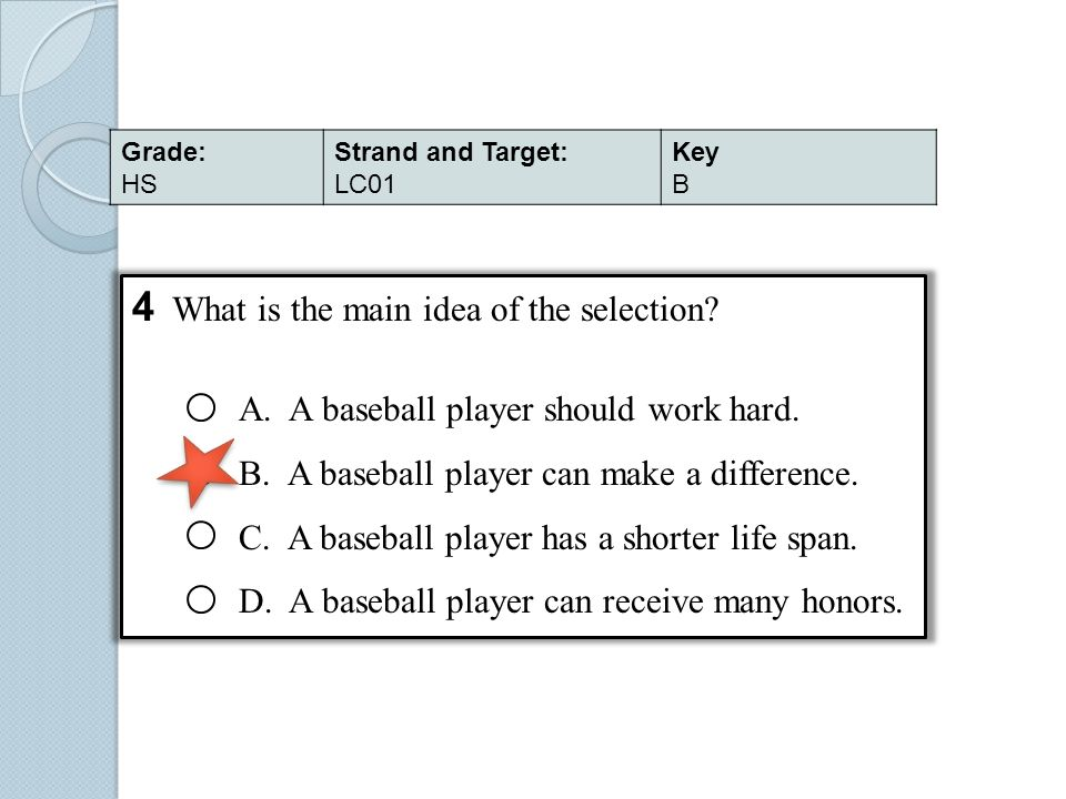 4 What is the main idea of the selection