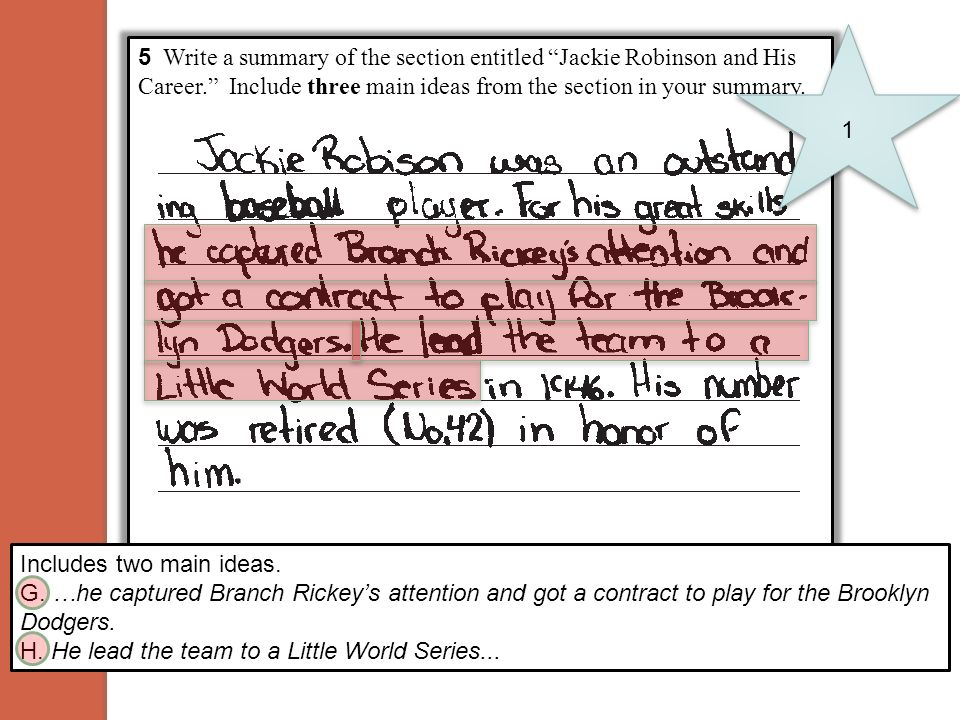 1 5 Write a summary of the section entitled Jackie Robinson and His Career. Include three main ideas from the section in your summary.