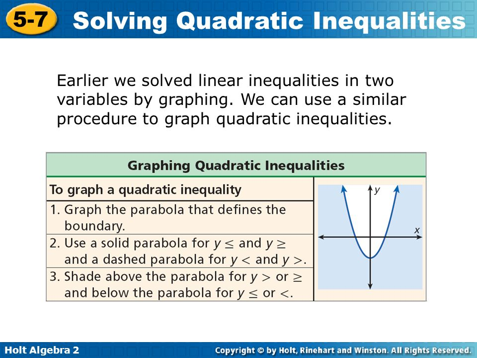 Earlier we solved linear inequalities in two variables by graphing