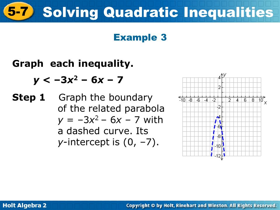 Example 3 Graph each inequality. y < –3x2 – 6x – 7.