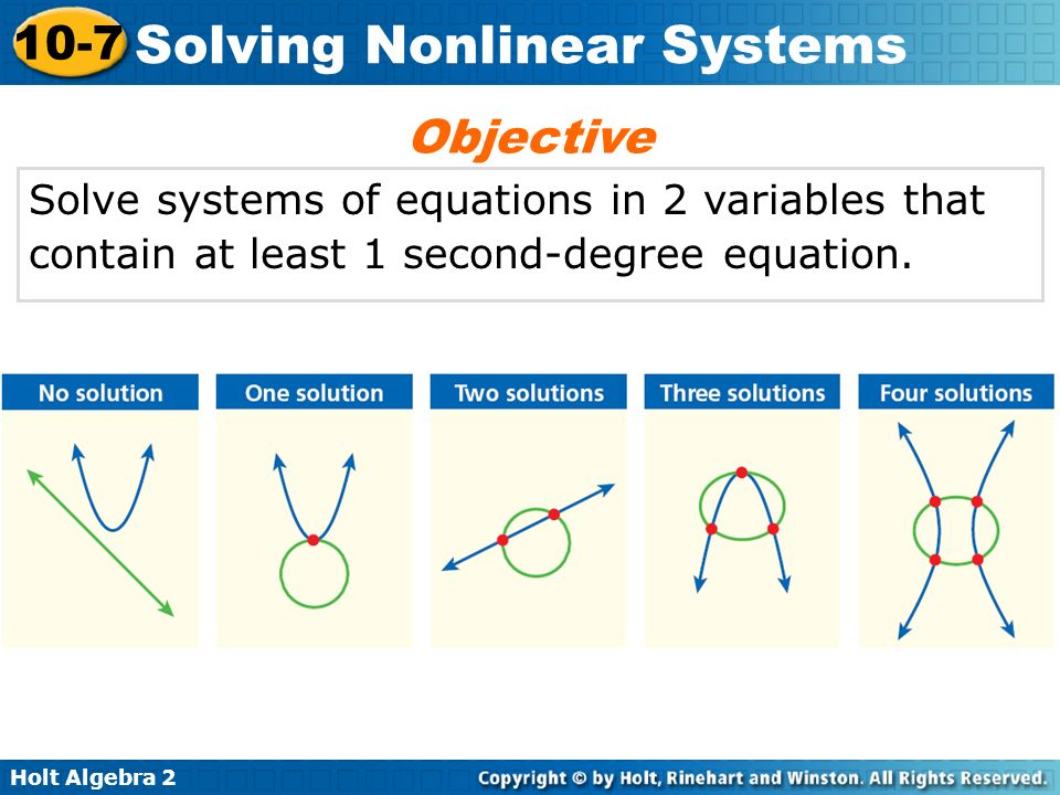 Objective Solve systems of equations in 2 variables that contain at least 1 second-degree equation.